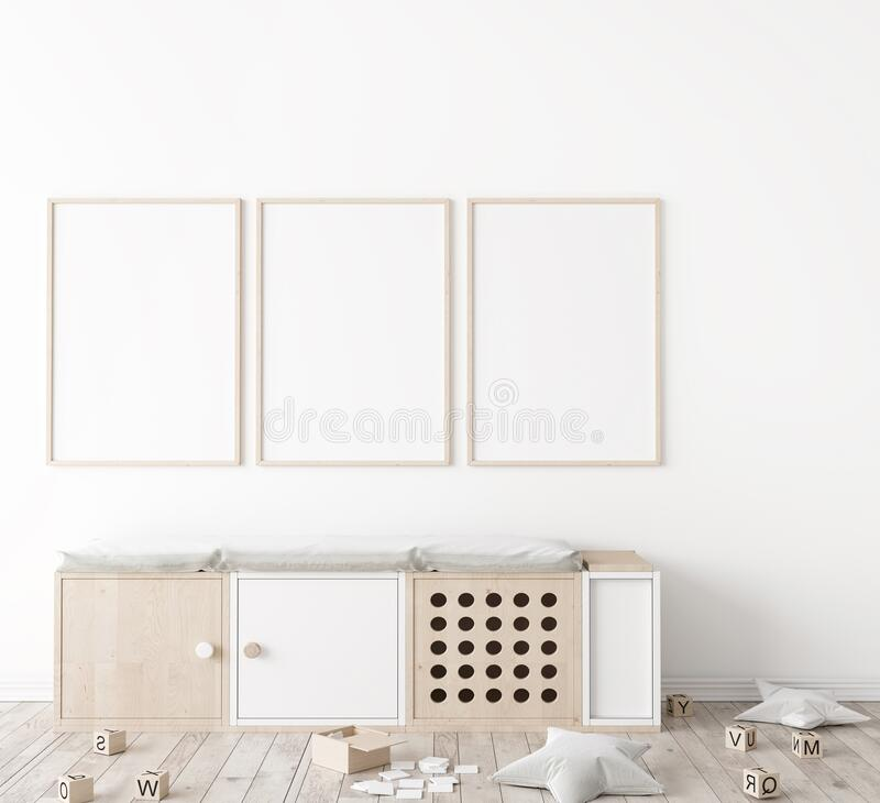 Free Poster Frame Mock Up In Child Bedroom, Scandinavian Unisex Nursery Design Royalty Free Stock Photography - 196042217