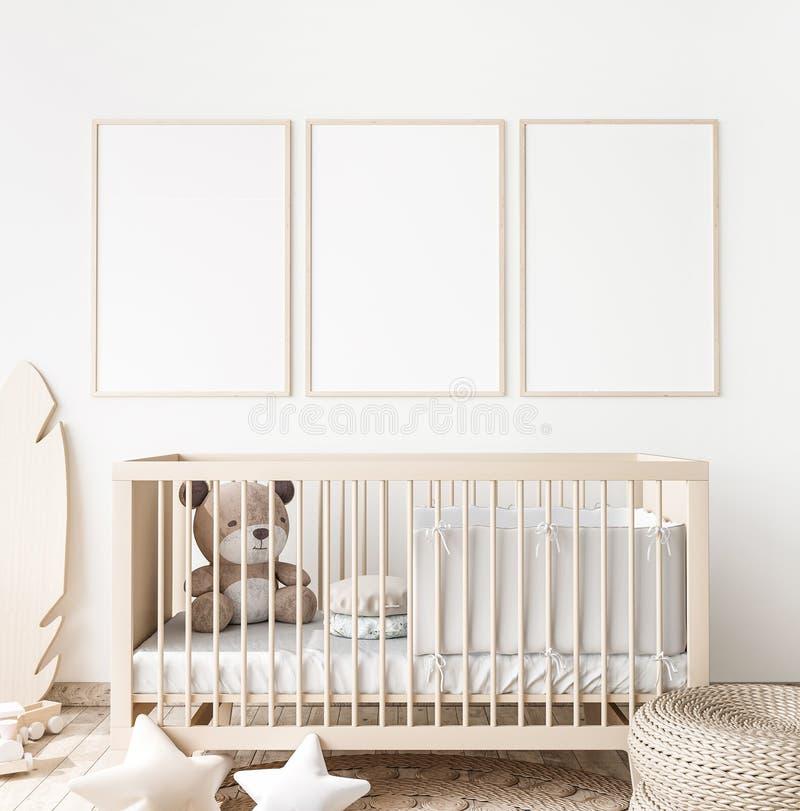 Free Poster Frame Mock Up In Child Bedroom, Scandinavian Unisex Nursery Design Stock Photo - 196348340