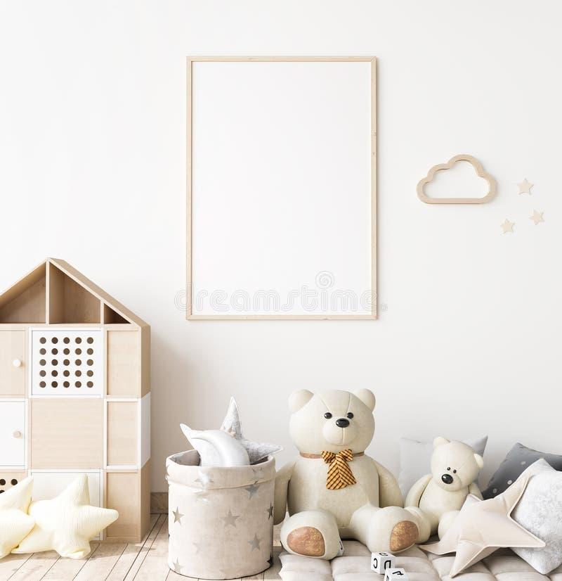 Free Poster Frame Mock Up In Child Bedroom, Scandinavian Unisex Nursery Design Stock Images - 197041664