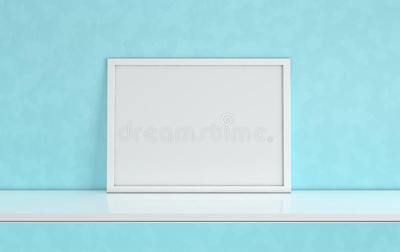 Poster frame mockup with blank copy space on blue background. Front view photo frame on white book shelf or desk. Digitally vector illustration