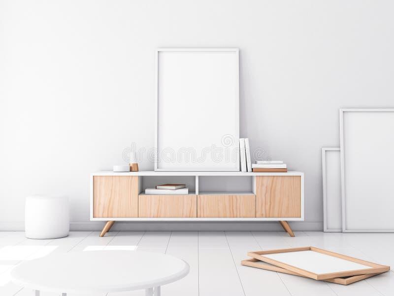 Poster Frame Mockup on bureau, modern white interior royalty free illustration