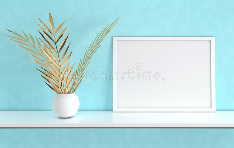 Poster frame mockup with gold palm leaves in the vase on blue background. Front view photo frame on white book shelf or desk. royalty free illustration