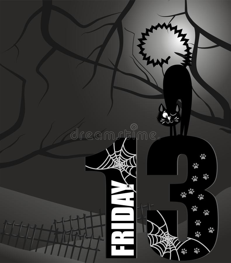 Poster Friday the 13th. Grayscale stock illustration