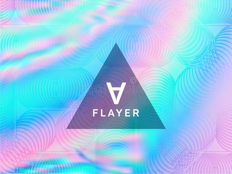 Poster glitch holographic vector layout design. vector illustration