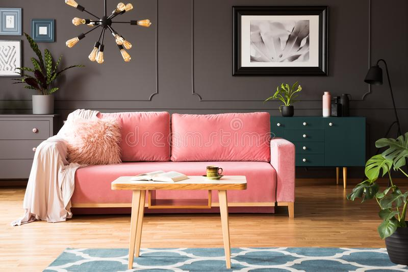 Poster on grey wall in living room interior with pink couch and. Wooden table on carpet. Real photo concept royalty free stock photos