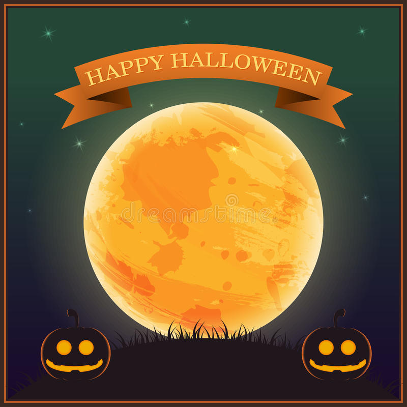 Poster Halloween Day , silhouette pumpkin lantern on grass under moon and star on night sky , vector illustration , banner text royalty free illustration