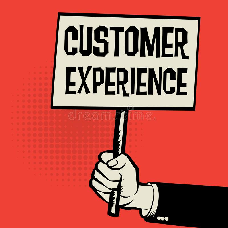 Poster in hand, business concept Customer Experience stock illustration