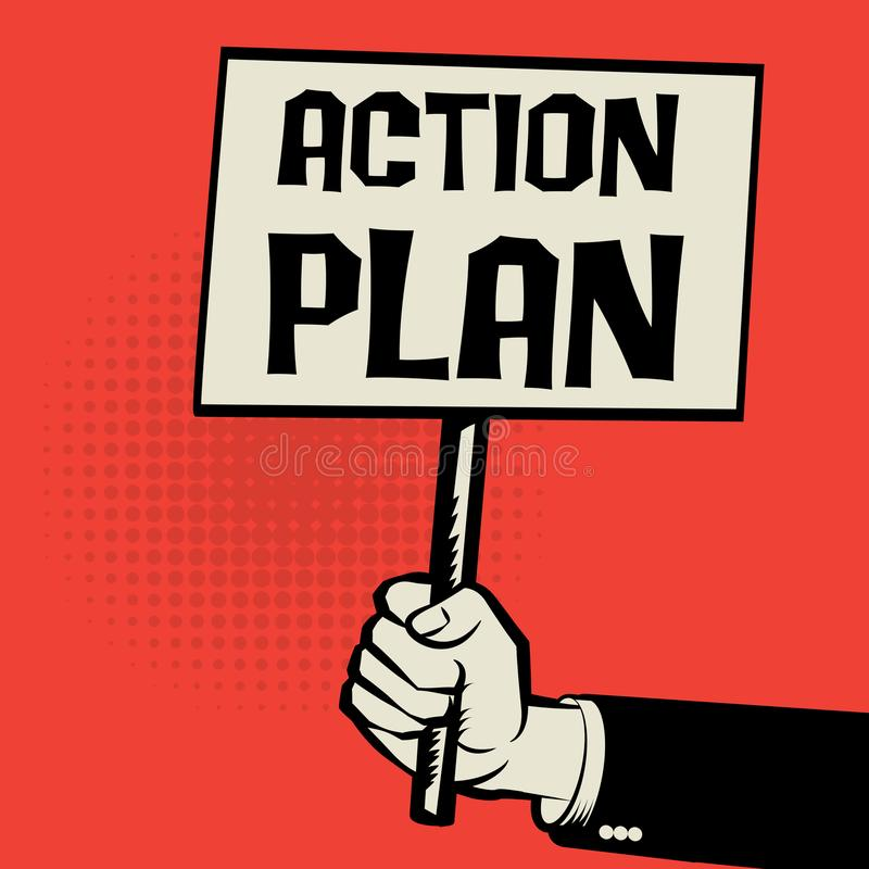 Poster in hand, business concept Action Plan royalty free illustration