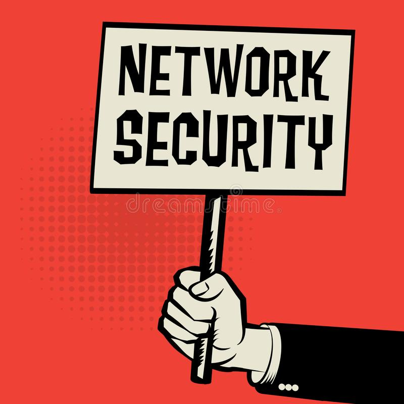 Poster in hand, business concept with text Network Security royalty free illustration