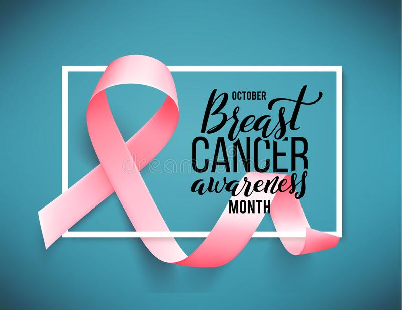 Poster with handdrawn lettering breast cancer. Realistic pink ribbon. vector illustration