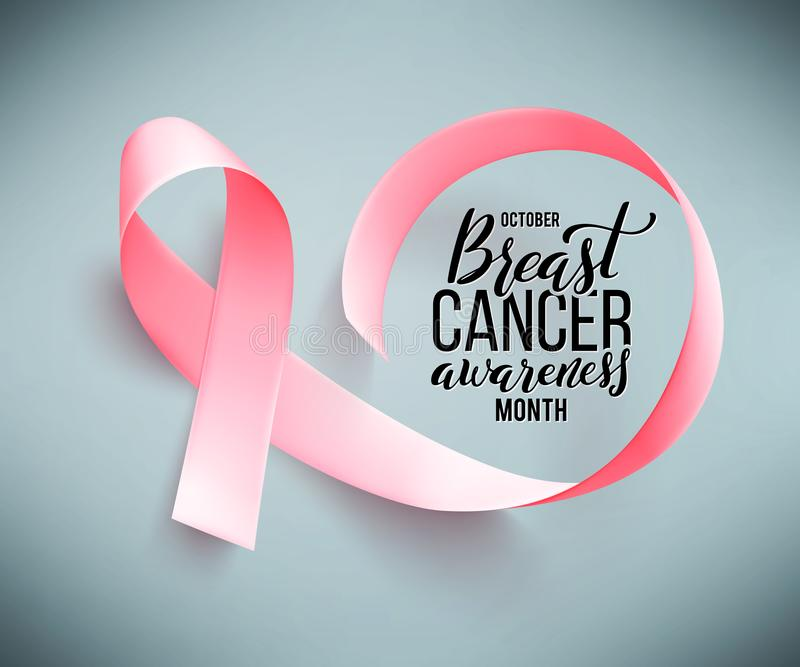 Poster with handdrawn lettering breast cancer. Realistic pink ribbon. royalty free illustration