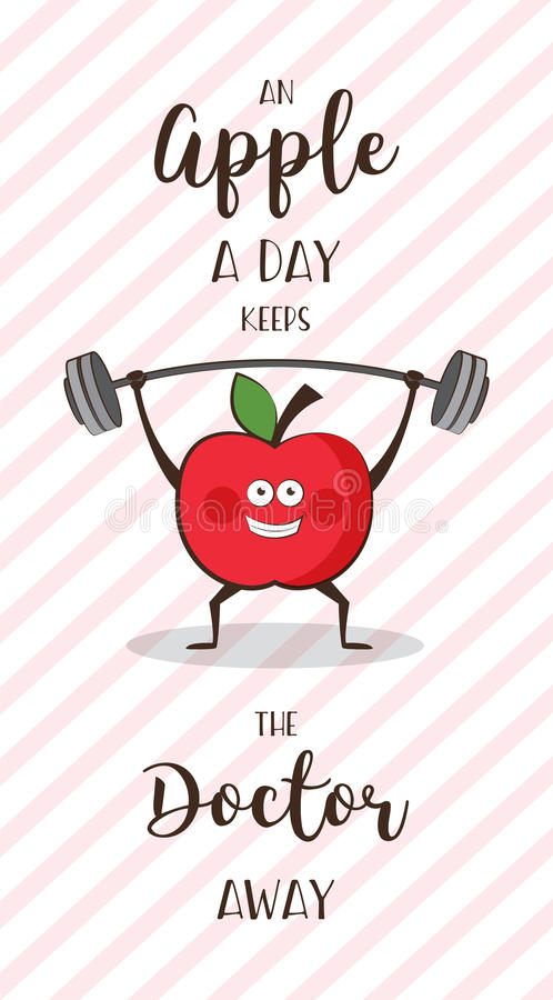 Poster of happy apple exercise ad heavy lifting. Healthy lifestyle motivation poster stock illustration