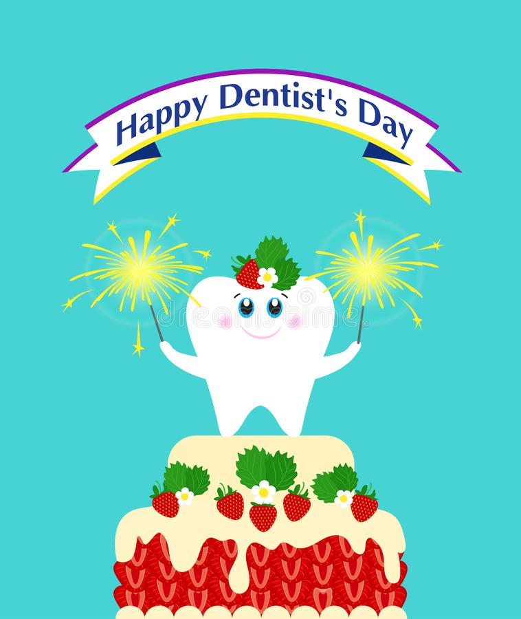 Poster Happy Dentist`s Day! Cute tooth royalty free illustration