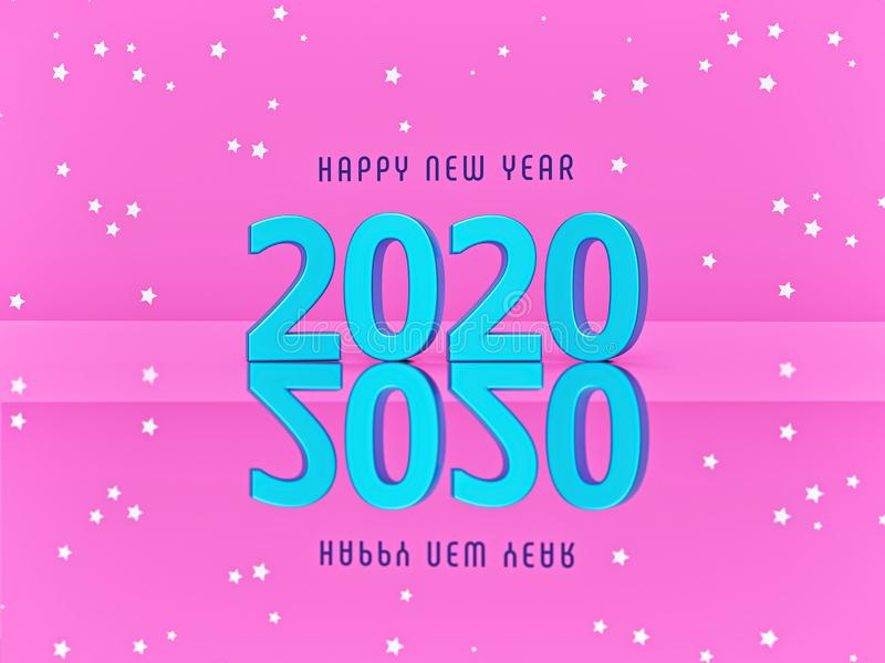 Poster of 2020 happy new year on pink background with stars. minimal greeting card. 3d rendering stock illustration