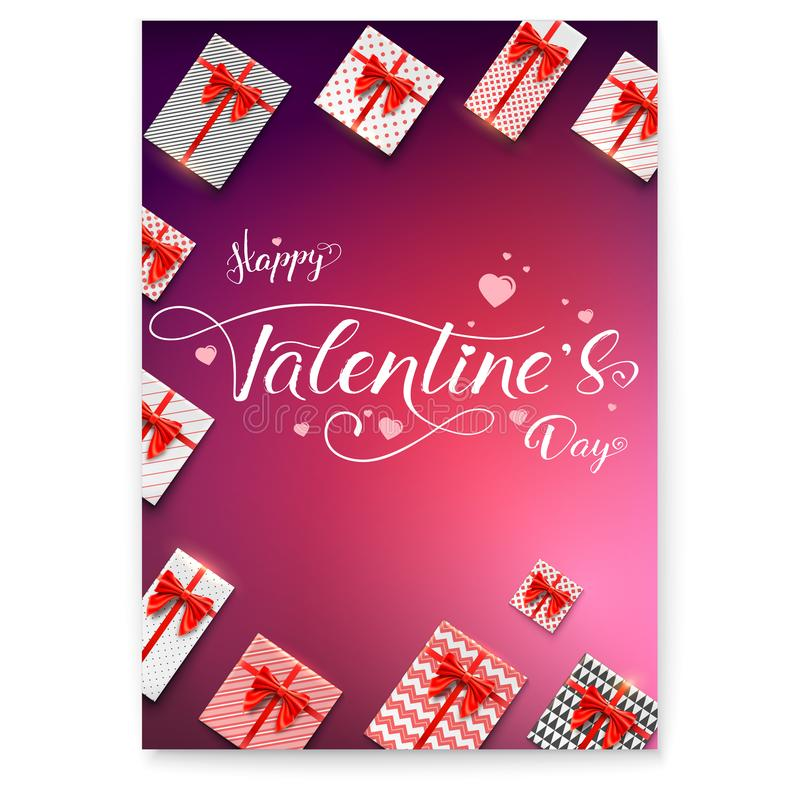 Poster for Happy Valentines day. Calligraphic handwritten text. Gift boxes wrapped in paper with patterns. Packages with vector illustration