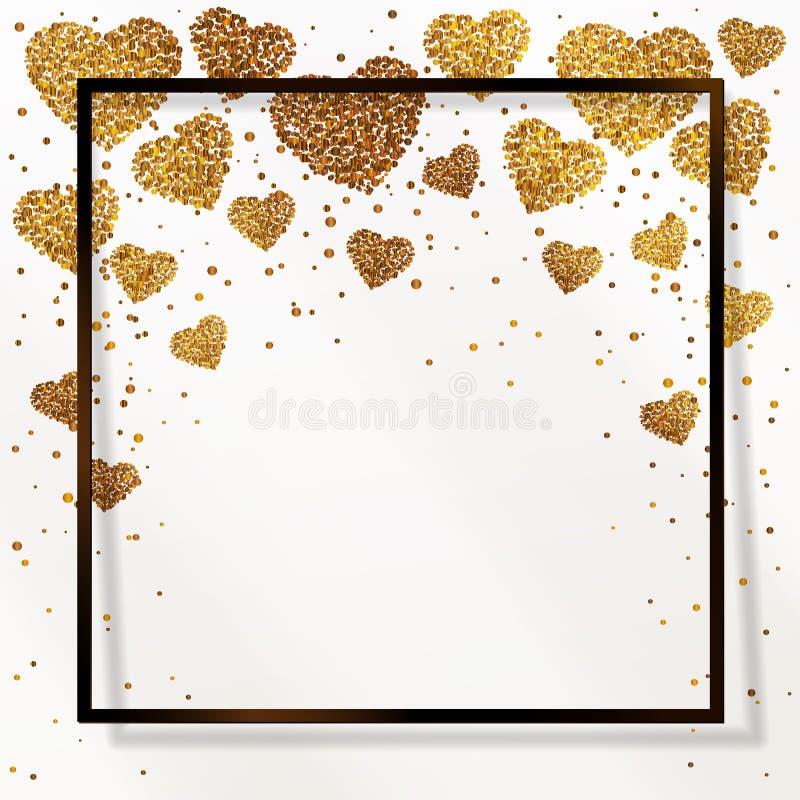 Poster with heart of gold confetti, sparkles, golden glitter in black frame, border stock illustration