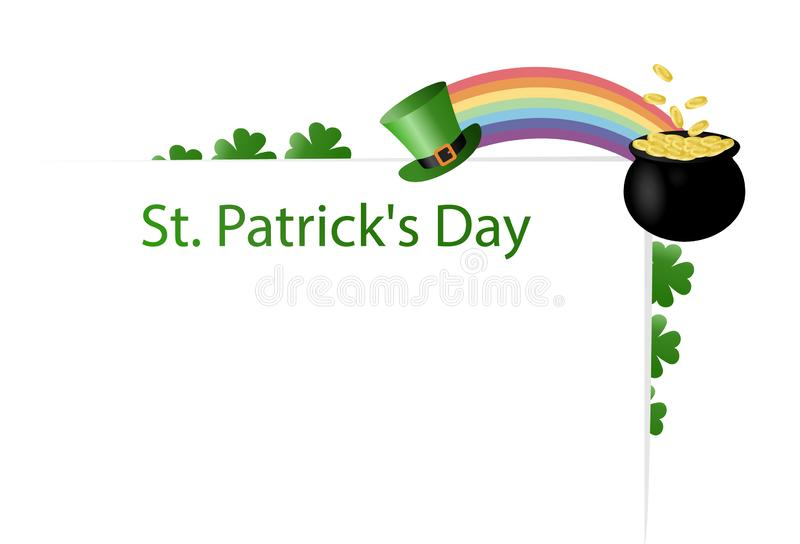 Poster for the holiday of St. Patrick`s Day on March 17 with a place for text. Leprechaun hat, rainbow, pot of gold coins with cl. Over, shamrocks. Flat vector stock illustration