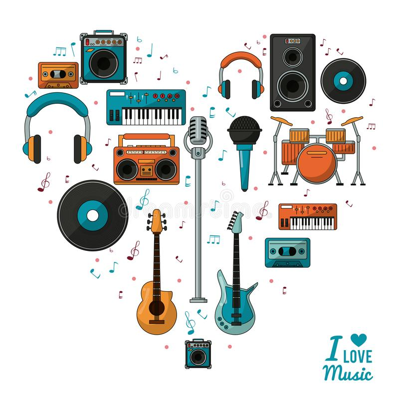 Poster i love music with colorful silhouette of musical instruments and playback devices. Vector illustration royalty free illustration