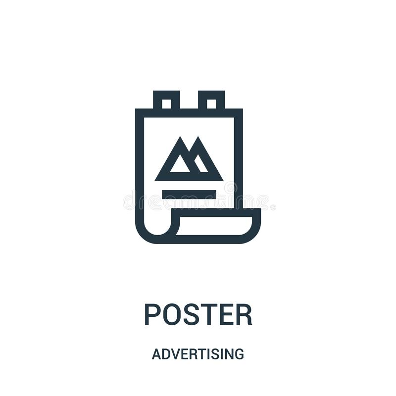 Poster icon vector from advertising collection. Thin line poster outline icon vector illustration. Linear symbol for use on web and mobile apps, logo, print royalty free illustration