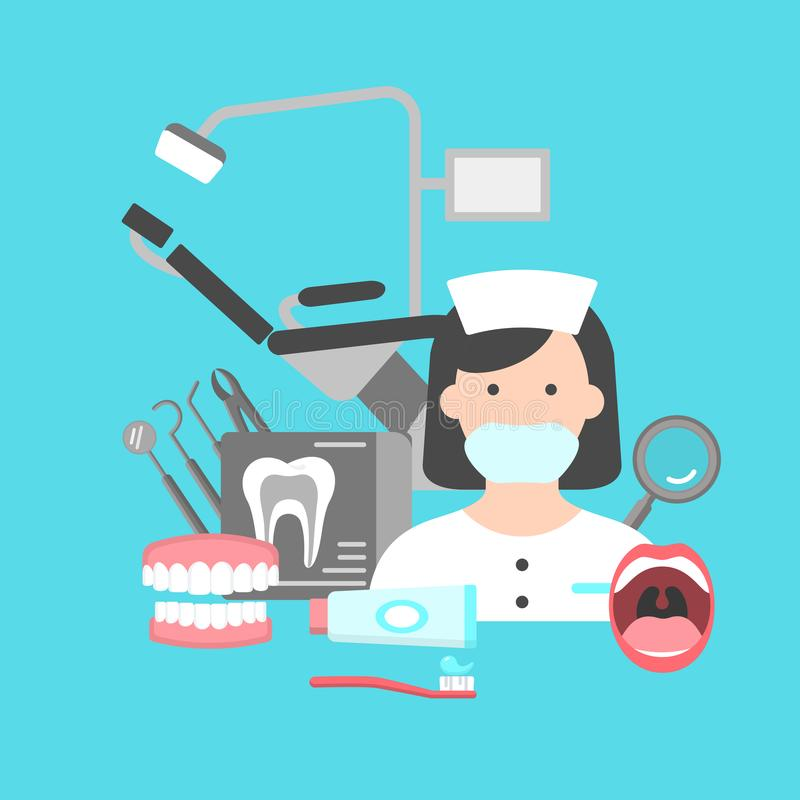 Poster with icons of dental clinic services. Information icons with dental clinic services and dentist in centre. Flat icons set of orthodontics oral cavity stock illustration