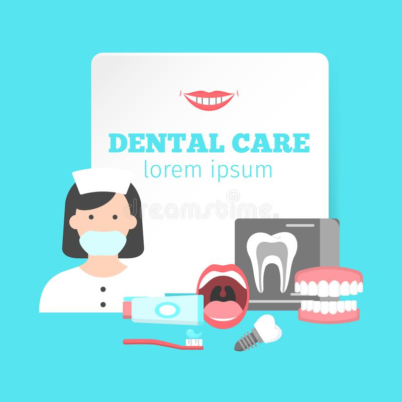 Poster with icons of dental clinic services. Nformation icons with dental clinic services and dentist. Flat icons set of orthodontics oral cavity extraction royalty free illustration