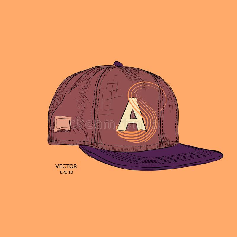 The poster with the image of Hand drawn baseball cap. Vector illustration. royalty free illustration