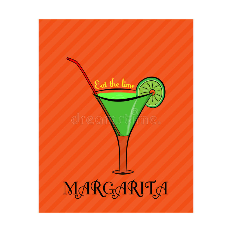 Poster with the image of Margarita with lime on orange background. Poster with the Margarita with lime on orange background royalty free illustration
