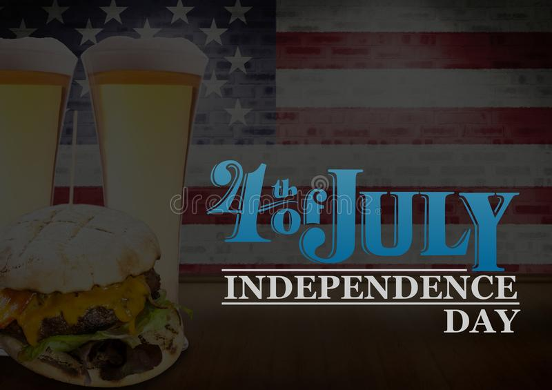 Poster of independence day with burgers and beers. Digital composite of Poster of independence day with burgers and beers royalty free stock photography