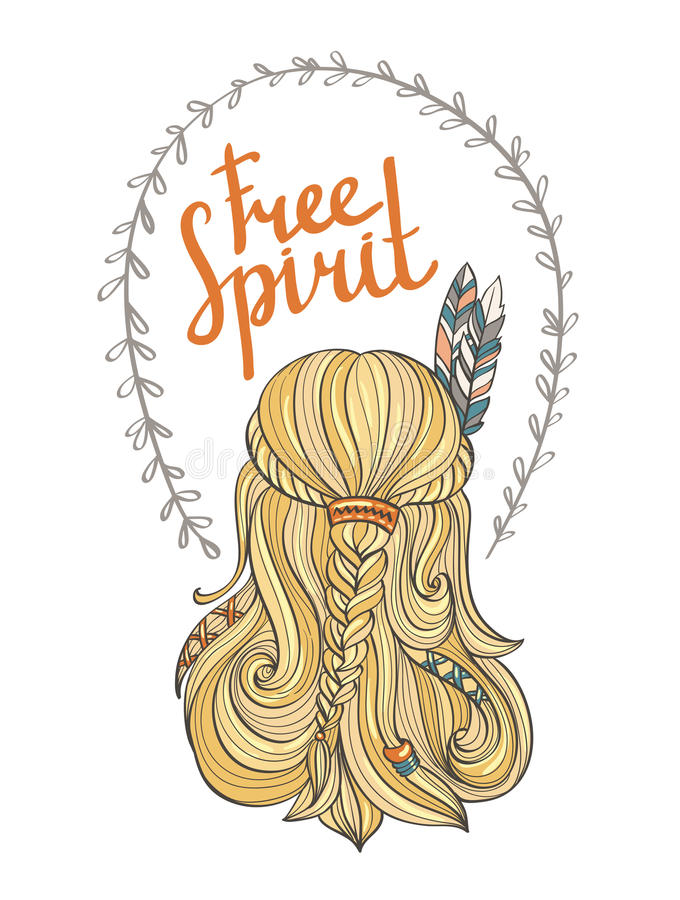 Poster with the indian girl and stylish boho lettering free spirit. vector illustration