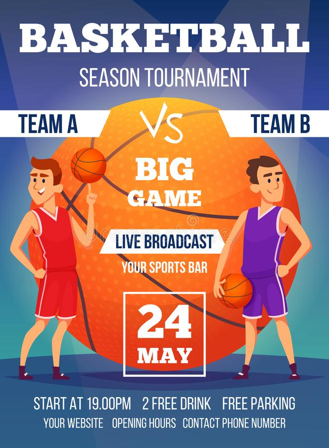Poster invitation at basketball championship. Design template with place for your text and sport characters vector illustration