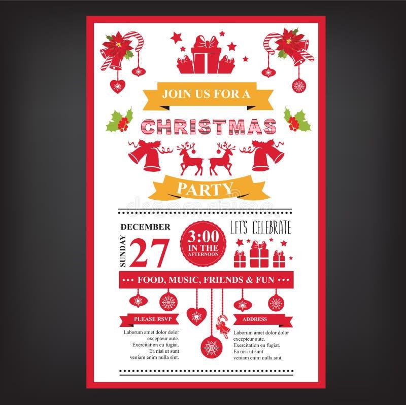 Poster invitation Merry Christmas. stock illustration