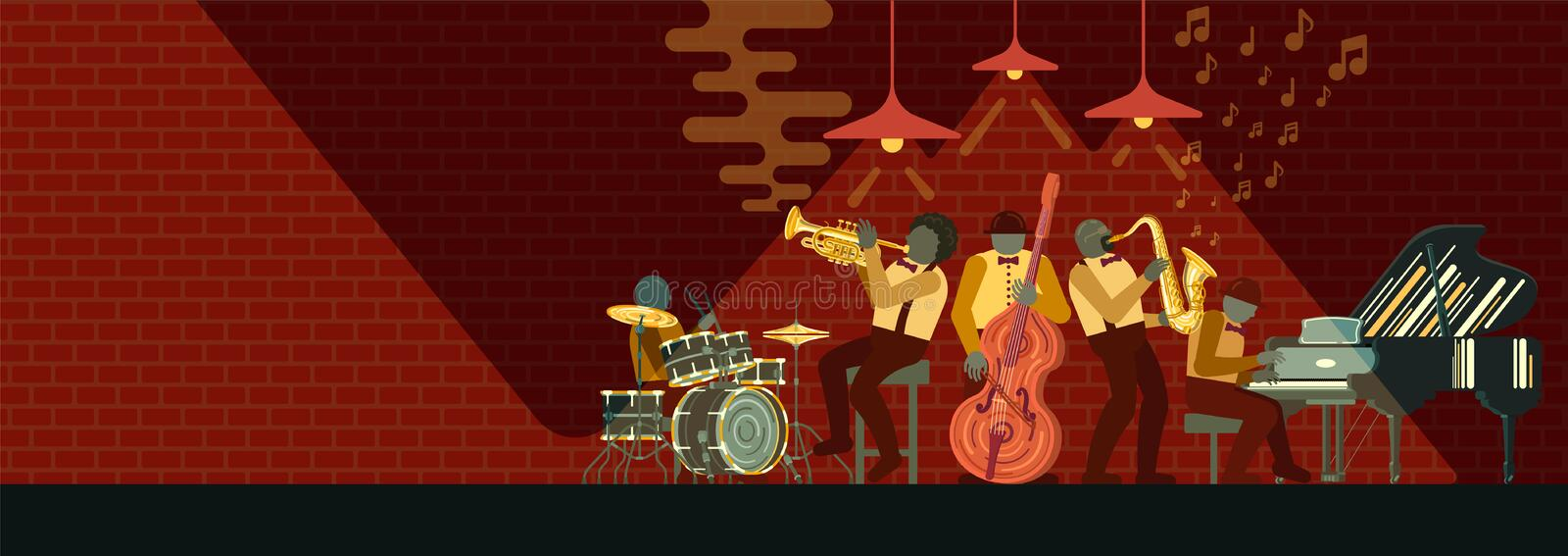 Musicial instrument CorneJazz Band playing on musicail instruments piano, saxophone, double-bass, cornet and drums in t with glare. Poster on Jazz day April 30 stock illustration