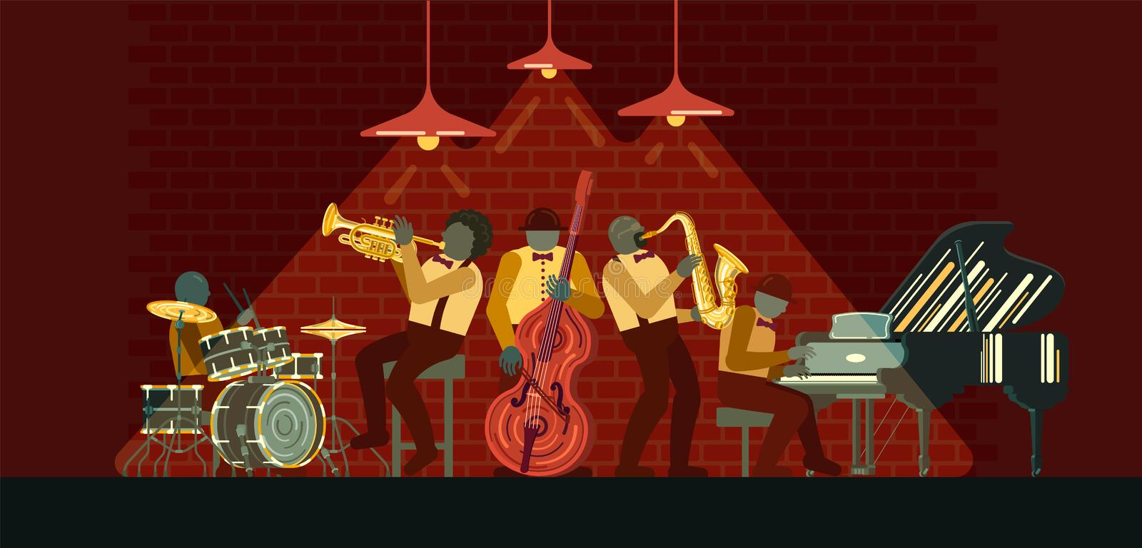 Jazz Band playing on musicail instruments piano, saxophone, double-bass, cornet and drums in Jazz Bar. Poster on Jazz day April 30 where Jazz Band playing on stock illustration
