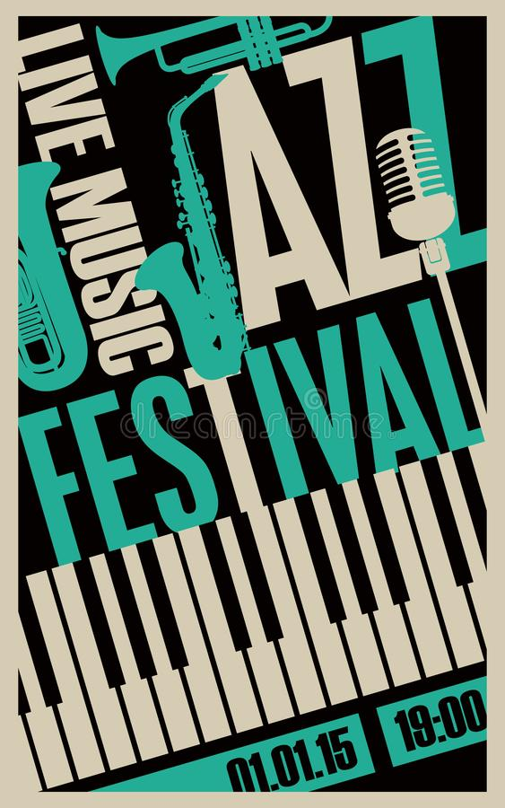 Poster for jazz festival with music instruments royalty free illustration