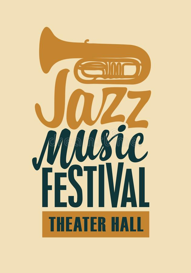 Poster for jazz music festival with saxophone. Vector poster of banner for a jazz music festival with a silhouette of saxophone and calligraphic inscription in stock illustration
