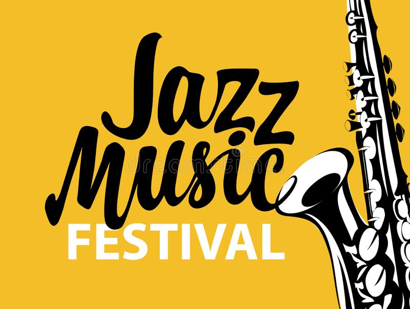 Poster for a jazz music festival with saxophone stock illustration