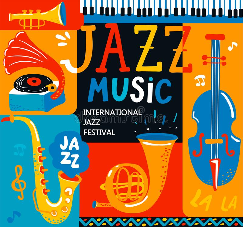 Poster for the jazz musical festival. royalty free illustration