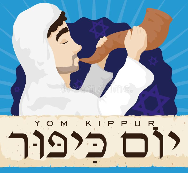 Jewish Man Blowing a Shofar behind Scroll for Yom Kippur, Vector Illustration. Poster with a Jewish man blowing traditional Shofar horn behind an ancient scroll vector illustration
