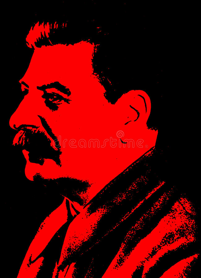 Poster of Joseph Stalin in black and red colors royalty free illustration