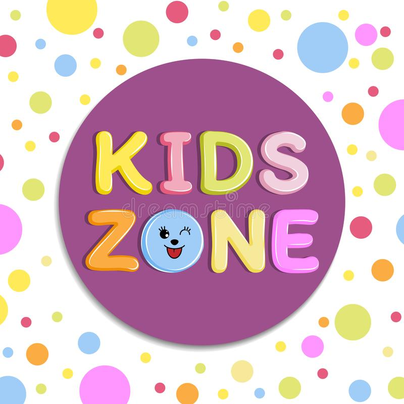 Poster Kids zone banner, emblem or logo in cartoon style with colored background royalty free illustration