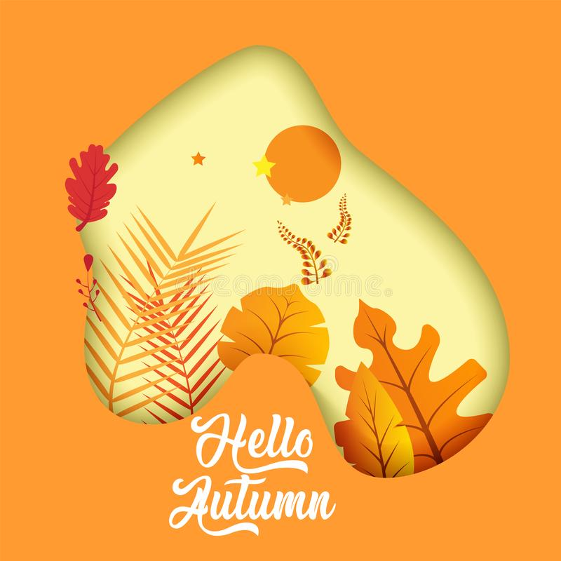 Poster with leafs and slogan \'\'Hello autumn!\'\'. 3D paper cut effect. Bright minimalist autumn postcard. Autumn leaf litter. Ve royalty free illustration