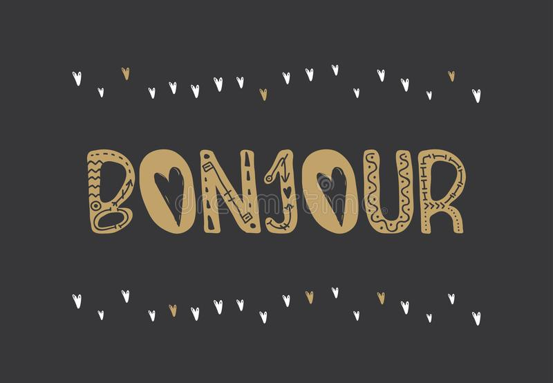 Poster with lettering bonjour . royalty free illustration