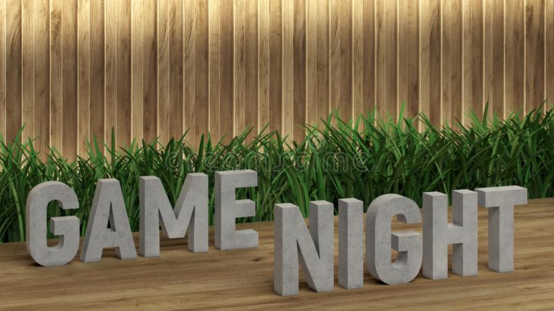Poster lettering Game Night. Large letters on a wooden table. Modern decorative grass, backlit wall of wooden battens. Great loft. Design for any purposes. 3d vector illustration