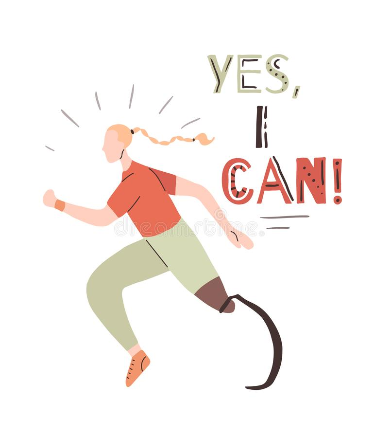 Poster with lettering Yes, I can and flat african girl runner with prosthetic leg. Jogger sportswoman. Motivation quote with. Stylized strong athletic woman stock illustration