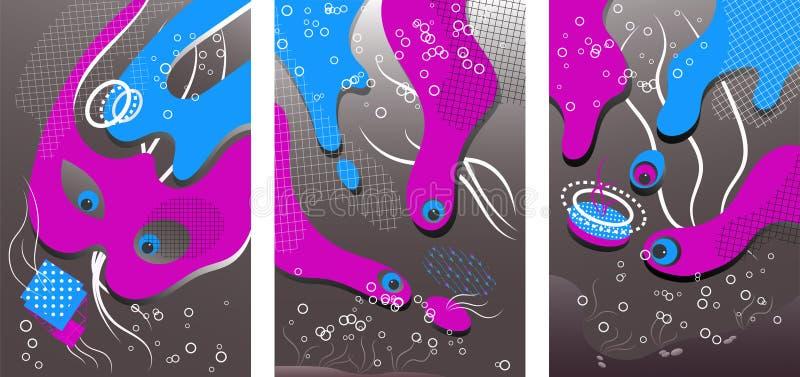 Liquid design in MEMPHIS styles royalty free illustration