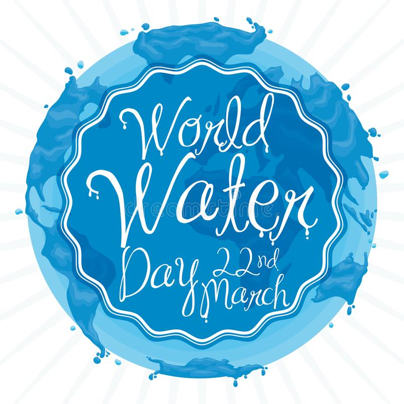 Watery Earth Design with Greeting Label for World Water Day, Vector Illustration stock illustration