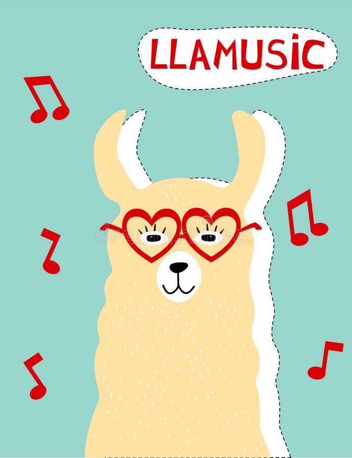 Poster with llama in glasses. Funny adorable character. Cute cartoon art vector illustration