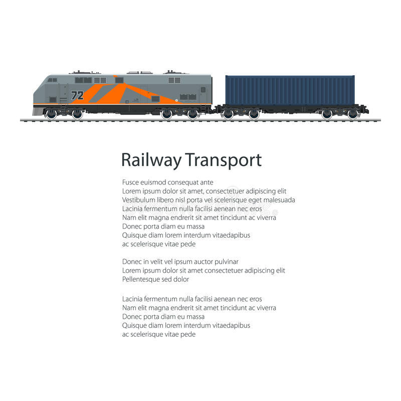 Poster Locomotive with Cargo Container. On Railroad Platform, Train Isolated on White Background and Text , Rail Freight, Railway and Container Transport stock illustration