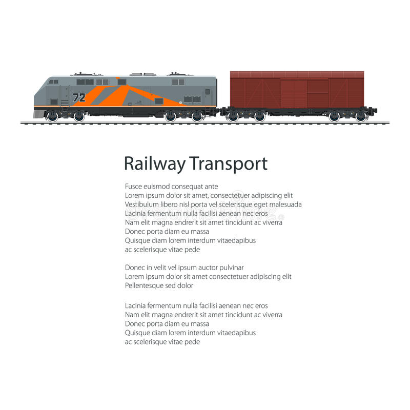 Poster Locomotive with Closed Wagon. Cargo Train on White Background and Text, Overland Railway and Cargo Transport, Vector Illustration royalty free illustration