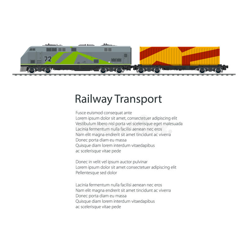Poster Locomotive with Orange Cargo Container. On Railroad Platform on White Background and Text , Rail Freight, Overland Transport, Vector Illustration vector illustration